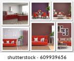 collage of modern home red... | Shutterstock . vector #609939656
