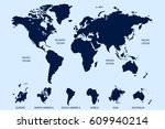 world map vector. continents... | Shutterstock .eps vector #609940214