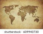 grunge map of the world | Shutterstock . vector #609940730