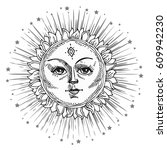 hand drawn sun with face and...   Shutterstock .eps vector #609942230
