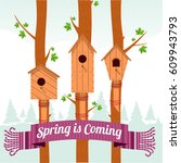 Spring Card With Wooden...