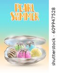 pearl of summer  many ice cream ... | Shutterstock .eps vector #609947528