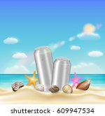 aluminium beverage can  and sea ... | Shutterstock .eps vector #609947534