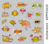 fashion badges  patches ... | Shutterstock .eps vector #609952610