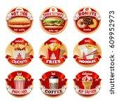 set of fast food logos ...   Shutterstock . vector #609952973
