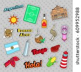 argentina travel elements with...   Shutterstock .eps vector #609952988