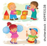 set of icons little boy and... | Shutterstock . vector #609953138