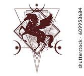 ethnic tribal horse. spiritual  ... | Shutterstock .eps vector #609953684