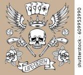 set tattoo elements....   Shutterstock . vector #609953990