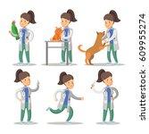 vet woman cartoon character set....   Shutterstock .eps vector #609955274