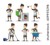 maid cartoon in a classic...   Shutterstock .eps vector #609955298