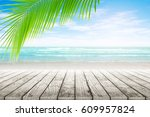 old wood table top on blurred... | Shutterstock . vector #609957824