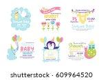 baby shower badge happy mothers ... | Shutterstock .eps vector #609964520