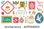 easter holiday hand drawn icons ... | Shutterstock .eps vector #609968003