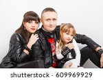 stylish family in leather... | Shutterstock . vector #609969929