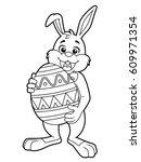 cartoon easter bunny carrying a ...   Shutterstock .eps vector #609971354