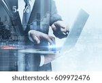 businessmen using laptop... | Shutterstock . vector #609972476