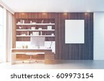 dark wooden workplace with a...   Shutterstock . vector #609973154