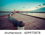 st. kilda pier at dusk with... | Shutterstock . vector #609975878