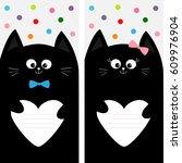 black cat kitty family holding...   Shutterstock . vector #609976904