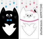 black white cat kitty family...   Shutterstock . vector #609977240