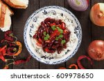 rice and red kidney beans ... | Shutterstock . vector #609978650