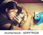 Teenage Girl Hug Cuddle Cat In...