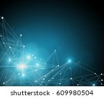 connected dots on torquoise... | Shutterstock . vector #609980504