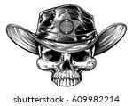 cowboy skull wering a cowboy...   Shutterstock .eps vector #609982214