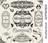 set vintage ornate frame design | Shutterstock .eps vector #609984800