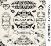 set vintage ornate frame design | Shutterstock .eps vector #609984800