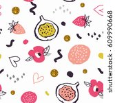 hand drawn doodle cute girlie... | Shutterstock .eps vector #609990668