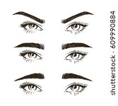 3 basic eyebrow shape types... | Shutterstock .eps vector #609990884