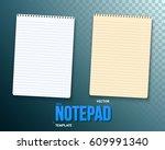 illustration of vector notepad... | Shutterstock .eps vector #609991340