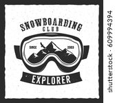 snowboarding goggles extreme... | Shutterstock .eps vector #609994394