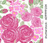 colorful seamless floral...   Shutterstock . vector #609999104