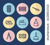 set of 9 tool outline icons... | Shutterstock .eps vector #610001510