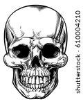skull drawing in a vintage... | Shutterstock . vector #610004210
