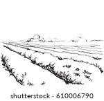hand drawn nature landscape... | Shutterstock .eps vector #610006790