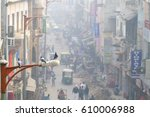 Small photo of NEW DELHI, INDIA - 21 JANUARY 2017: Busy Indian Street Market in New Delhi, India. Delhi's population surpassed 18 million people.