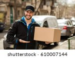 delivery man with cap and... | Shutterstock . vector #610007144