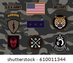 set of army badge typography  t ... | Shutterstock .eps vector #610011344