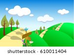 spring landscape with green... | Shutterstock . vector #610011404