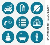set of 9 drop filled icons such ... | Shutterstock .eps vector #610013294