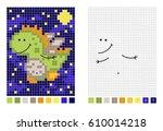 night dinosaur pixel cartoon...   Shutterstock .eps vector #610014218