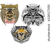 set gothic coat of arms with... | Shutterstock .eps vector #610017350