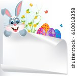 easter greeting card with... | Shutterstock .eps vector #610018358