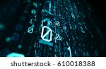 3d illustration.  blue bytes of ... | Shutterstock . vector #610018388