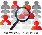 magnifying glass search job and ... | Shutterstock .eps vector #610019330