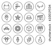 set of 16 color outline icons... | Shutterstock .eps vector #610019534